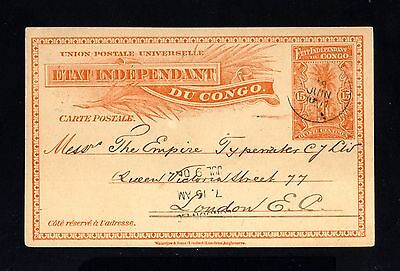 15530-BELGIAN CONGO-OLD POSTCARD BANANA to LONDON (england) 1906.Congo Belge.