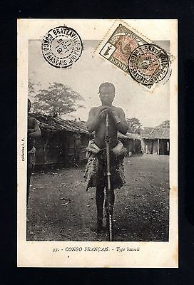 15549-FRENCH CONGO-OLD POSTCARD BRAZZAVILLE to PARIS (france)1919.Congo FRANÇAIS