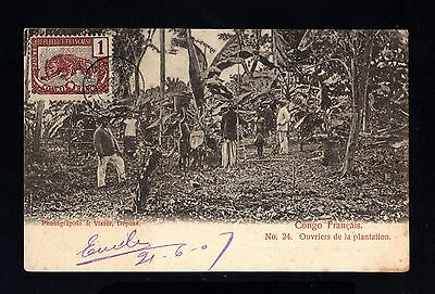 15537-FRENCH CONGO-OLD POSTCARD BRAZZAVILLE to PARIS (france)1907.Congo FRANÇAIS