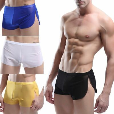Boxer Briefs Mens Mesh Trunk Underwear See Through Shorts Bulge Pouch Underpants