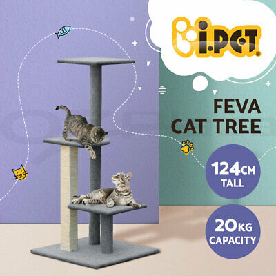 Cat Scratching Tree Post Scratcher Pole Furniture House Toy Carpeting Grey 124CM