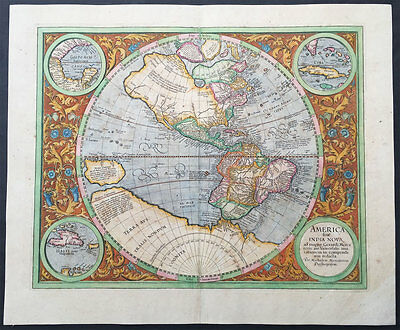 1633 Gerard Mercator Large Very Early Antique Map of America in Oval Hemisphere