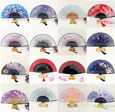 Chinese Fan Silk Floral Bamboo Hand Fan with Tassel for Wedding/ Collection