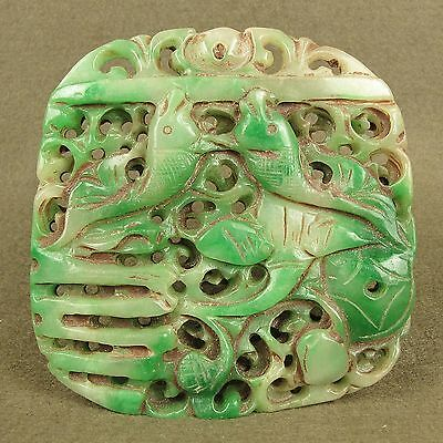 """Stunning 3.6""""With Carved Chinese Antique Jadeite Jade 2 Fish Pendant Decoration"""