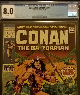 1970 Marvel Conan The Barbarian #1  CGC 8.0 White Pages