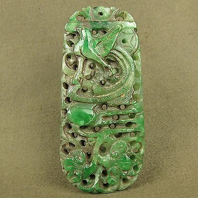 """4.8""""With Carved Chinese Antique Green Jadeite Jade Phoenix Pendant Decoration"""
