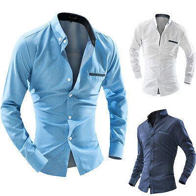 Men Clothing Fashion dress Shirt Stylish Casual T-shirts Slim Long Sleeve Tops L