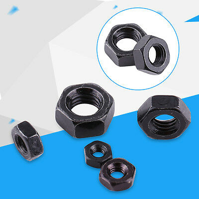 100pcs M2-M5 Zinc Plated Carbon Steel Black Metric Hex Hexagonal Nuts Set DIN934