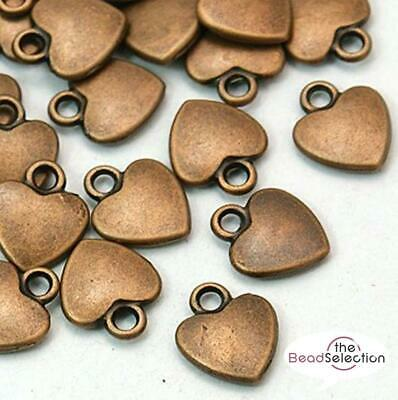 20 COPPER RED SMALL HEART CHARMS PENDANTS 12mm STEAMPUNK C89