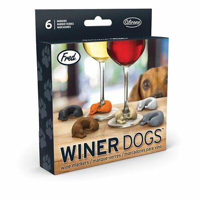 New FRED Wine Glass Markers Winer Dogs Dachshund Set of 6 Party Entertaining Dri