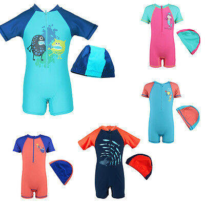New Toddler Baby Boys UV 50+ Sunblock Swimsuit Bath Swimming Costume + cap 2-8Y
