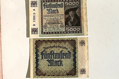 24848 Geldschein Reichsbanknote 5000 Mark 2.12.1922 german paper money