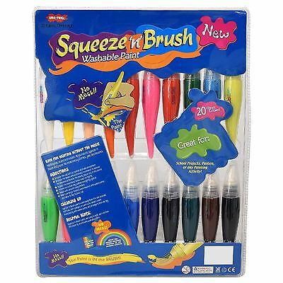 Childrens 20 Squeeze N Brush 2 in 1 Paint Tubes Art Craft Set Non Toxic Washable