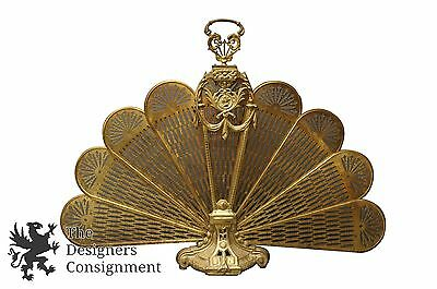 Vintage Venns Solid Brass Fireplace Screen Folding Fan Peacock Tail Shape Ornate