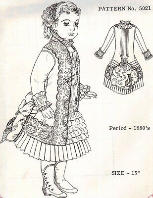 "Period DOLL DRESS PATTERN Victorian German French ANTIQUE vintage look 15"" 5021"