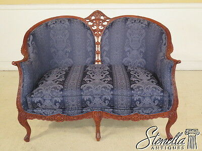L28077E: French Louis XIV Style Carved Mahogany Loveseat