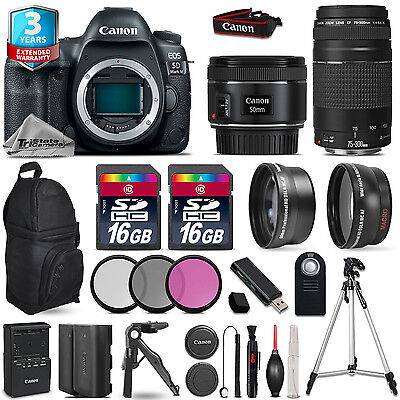 Canon EOS 5D Mark IV Camera + 50mm + 75-300mm + EXT BATT + 32GB + 2yr Warranty