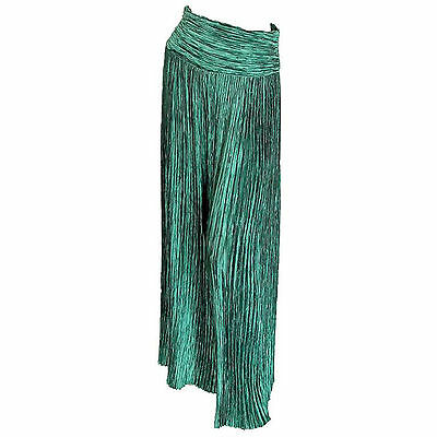 Mary McFadden Couture Emerald Green Palazzo Pants Pleated Fortuny Maxi 80s sz 8
