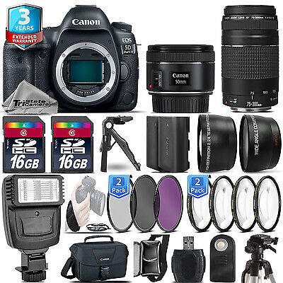 Canon EOS 5D Mark IV Camera + 50mm + 75-300 + EXT BATT - 32GB Kit + 2yr Warranty