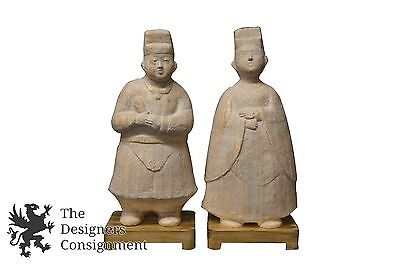 """2 Terracotta Style Ceramic Asian Figural Monks Statues on Wood Base Pair 25"""""""