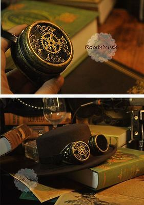 Vintage Victorian Party Aviator Goggle Steampunk Gear Pattern Goggle Cosplay