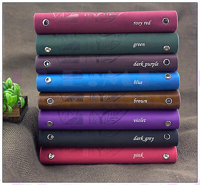"""7""""x5"""" Refillable Travel Journals Personalized Leaves Leather Notebook Diary Pink"""
