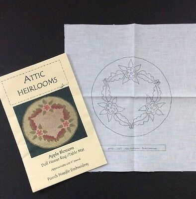 Attic Heirlooms Punchneedle Embroidery Apple Blossom Doll House Rug Table Mat 6""