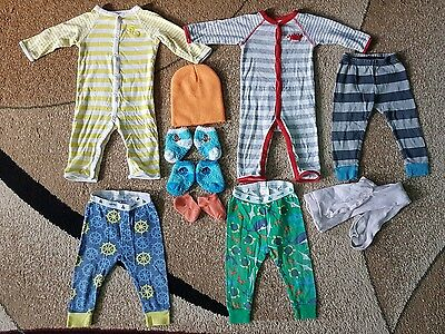Lot of 10 Baby Boy Girl Clothing 6-12 month Bodysuits Tights Pants Socks Hat