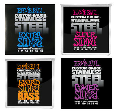 Ernie Ball Electric Guitar Strings Custom Gauge Stainless Steel Slinky Pack