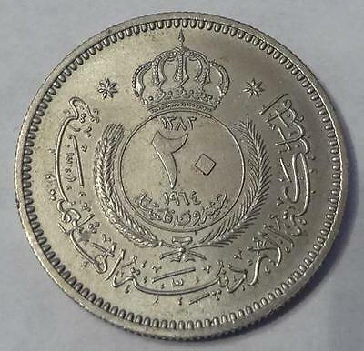 1964 Jordan, 20 Fils, Scarce Low Mintage 3,000 Only From Sets