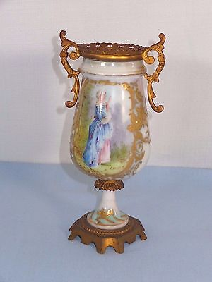Antique Artist Signed Louis Portrait Urn Gilded Bolted Sevres