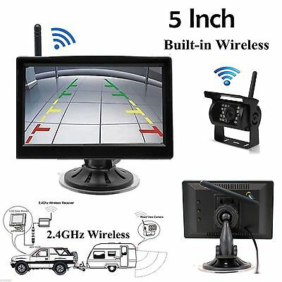 "Wireless Night Vision Rear View Backup Camera + 5"" Monitor Kit for RV Truck Van"