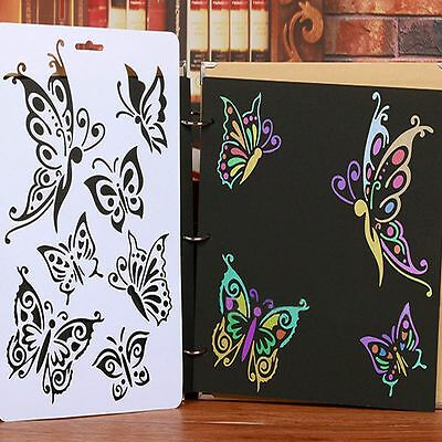 2PCS DIY Craft Tools Butterfly Stencils Scrapbooking Paper Cards Stamps Album