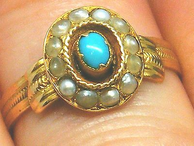 18K Gold 18CT Gold Turquoise & Seedpearl Antique Victorian ring size M