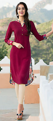 Solid & Floral Print Women Kurti Crepe Fabric Ethnic Designer Tunic Casual Dress