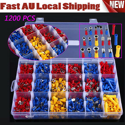 NEW 1200PCS Insulated Crimp Terminals Electrical Wire Connector Spade Assorted Z