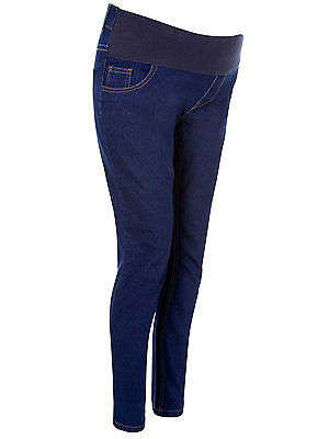 Womens Under Bump Maternity Skinny Jeans Trousers Jeggings DARK BLUE Size 8-20
