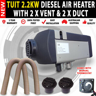 NEW Planer 2KW Caravan,Camping Motor Home Diesel Heater with 2 x Vents & Ducts