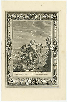 Antique Print-ARION-DOLPHIN-TEMPLE OF MUSES-GREEK MYTHOLOGY-Picart-1733