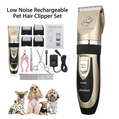 Rechargeable Cordless Pet Dogs Cat Electric Hair Clipper Kit Grooming Trimmer AU