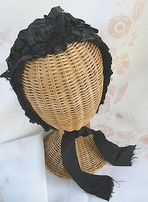 Vintage Victorian Beautifully Hand Done Ornate Black Silk Bonnet Hat
