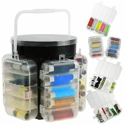 210pc Sewing Kit Storage Caddy Set Pins Buttons Hobby Needlework Threads Box