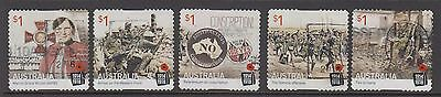 Australia 2016 Centenary of WWI: 1916 Used set  5 self adhesive stamps.