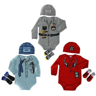 3 Piece Baby Boy set Future Exec/ Cool Dude / Daddy's Little Helper
