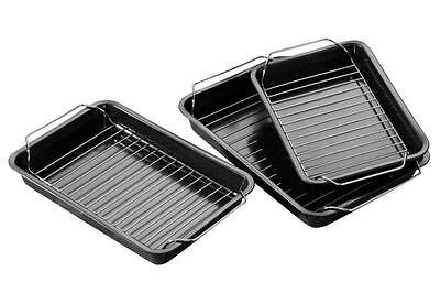 Set Of 3 Rectangular Non-Stick Roasting Baking Pan Dish Tin Tray With Rack