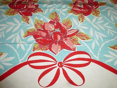 "Vintage Cotton Rayon TABLECLOTH GORGEOUS RED TURQUOISE FLORAL 51x59"" UNUSED"