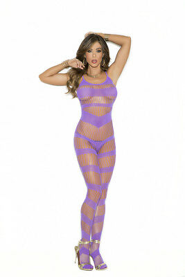 Transparenter Bodystocking Catsuit Schritt ouvert lila S M L XL Dessous Teddy