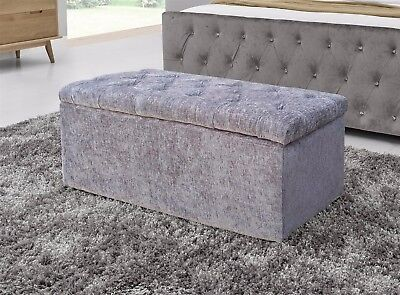 Cubed Velvet or Chenille Diamante Ottoman Storage Box Toy Foot Stool New