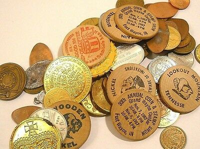 65 Pc. Coins, Tokens & Wooden Nickels Lot