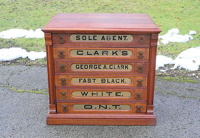6 Drawer Cherry Wood Clark's Spool Cabinet w ONT embossed pulls glass fronts